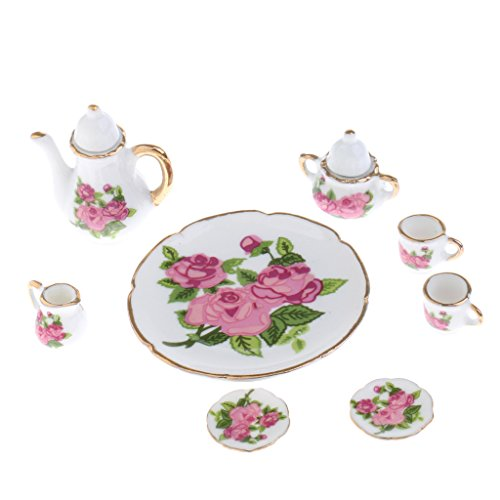 Prettyia 1/6 Scale Dollhouse Miniatures Rose Flowers Porcelain China Tea Set Kit 8pcs