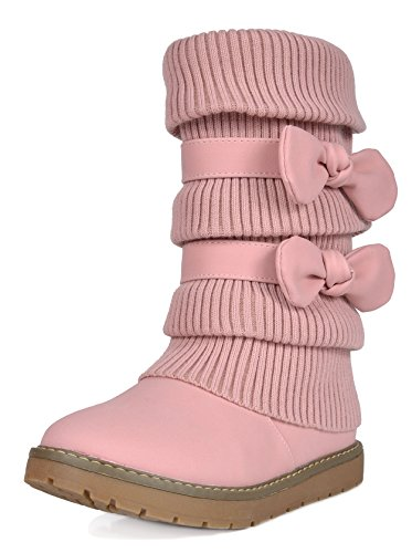 DREAM PAIRS Big Kid Klove Pink Faux Fur Lined Mid Calf Winter Snow Boots Size 6 M US Big Kid