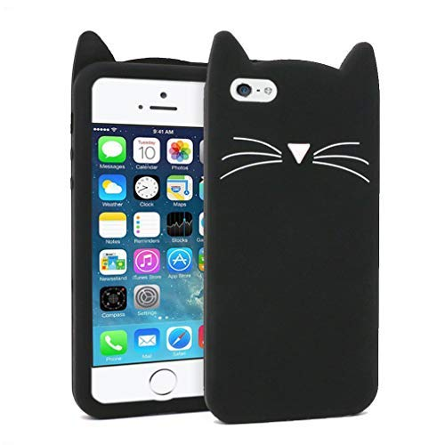 size 40 15729 32283 for iPhone 5 Case, iPhone 5S Case, iPhone SE Case, Fashion Cute 3D Cartoon  Whisker Cat Kitty Soft Silicone Gel Rubber Bumper Case Cover for iPhone 5 /  ...