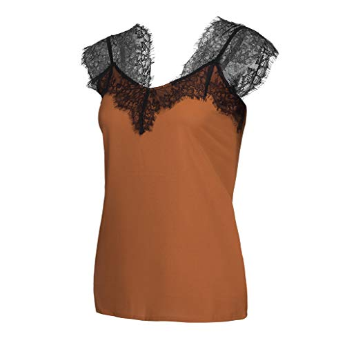 Women Summer Chiffon Sleeveless Lace Mesh Loose Vest V-Neck Cami Soft Tank Top (Brown, S) by Tanlo (Image #4)