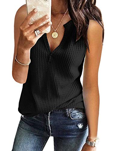 Tank Tops for Women Cotton Workout Waffle Knit V-Neck Summer Casual Sleevelss Shirts Black
