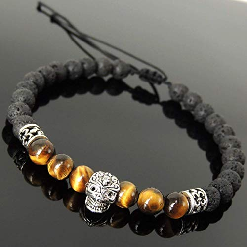 Handmade Braided Skull Bead Bracelet for Men's Women's Casual Wear, Day of the Dead Inspired with Lava Rock, Brown Tiger Eye 6mm Stones, Adjustable Drawstring, Genuine 925 Sterling Silver