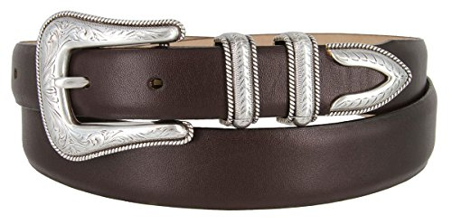 Brenton - Men's Italian Calfskin Designer Dress Golf Belt with Western Silver Plated Buckle Set (40 Smooth Brown)