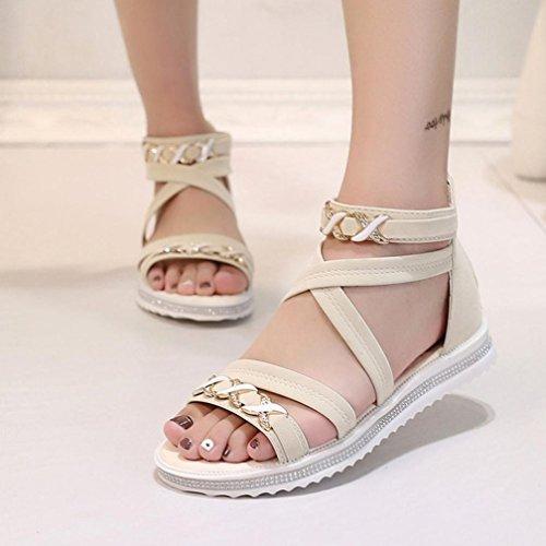 Omiky® Frauen flache Schuhe Sommer weiche Leder Freizeit Damen Sandalen Beige