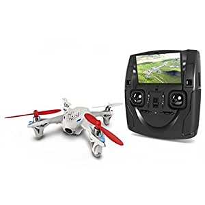 Hubsan H107D FPV X4 Drone 480P Camera Live Video 5.8GHz Quadcopter with Protection Cover Mode 2 RTF (White)