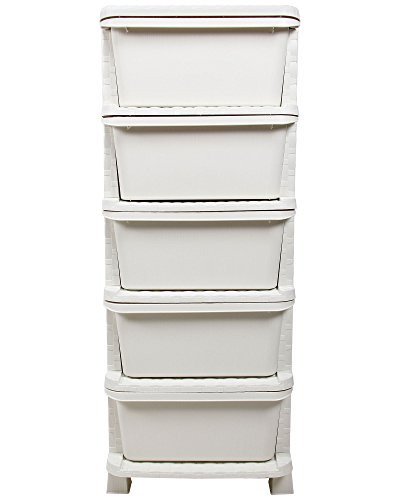 Schubladenkommode Rattan Tower - Weiß