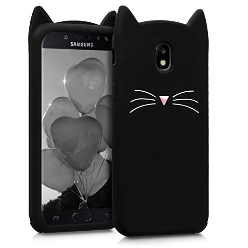 Beard Cat Case for Samsung Galaxy Amp Prime 3,J3 Eclipse 2/J3 Orbit/J3 Achieve J3 Emerge 2018 Soft Fun Kawaii Character Unique Girls Kids Silicone Rubber Shockproof Cover Skin for Samsung J3 2018