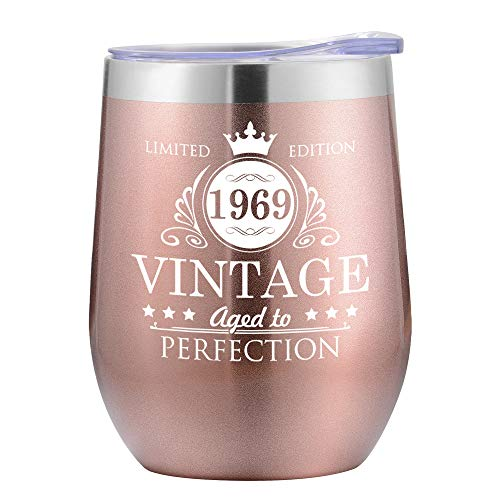 50th Birthday Gifts for Women - Funny Gifts for 50th Birthday Women Mom Wife Her - Party Decorations Supplies Cups-12oz Stainless Steel Insulated Tumbler with Lid