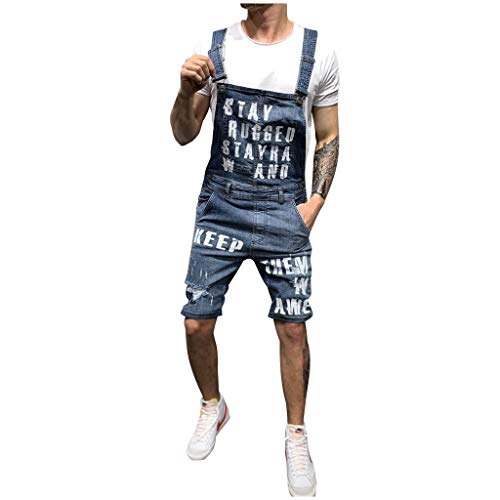 UOFOCO Streetwear Letter Pocket Jeans Mens Overalls Jumpsuit Suspender Pants Dark Blue ()