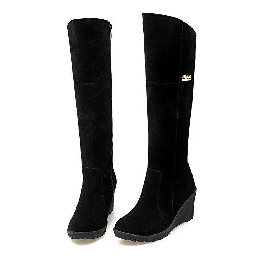 BalaMasa Ladies Metal Ornament Round Toe Pull-on Frosted Boots Black 4dO38