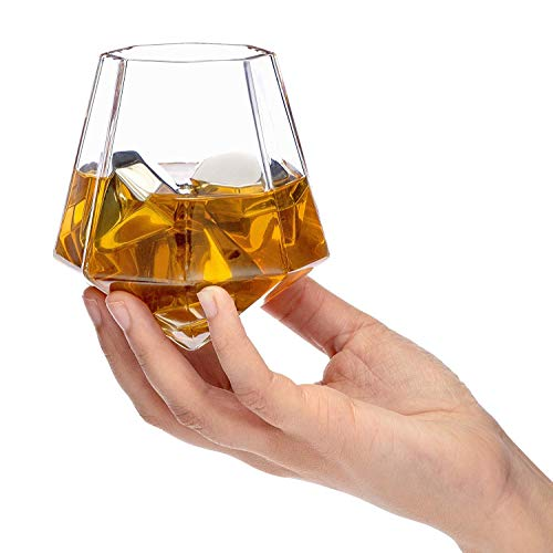 VANUODA 12 oz Diamond Whiskey Cup Creative Wine Glass - Clear Glasses – Funny Whiskey Cups for Men Women ()