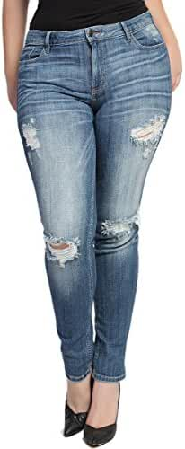 TheMogan Women's Plus Size Ripped Denim Skinny Jeans In Medium Blue Distressed