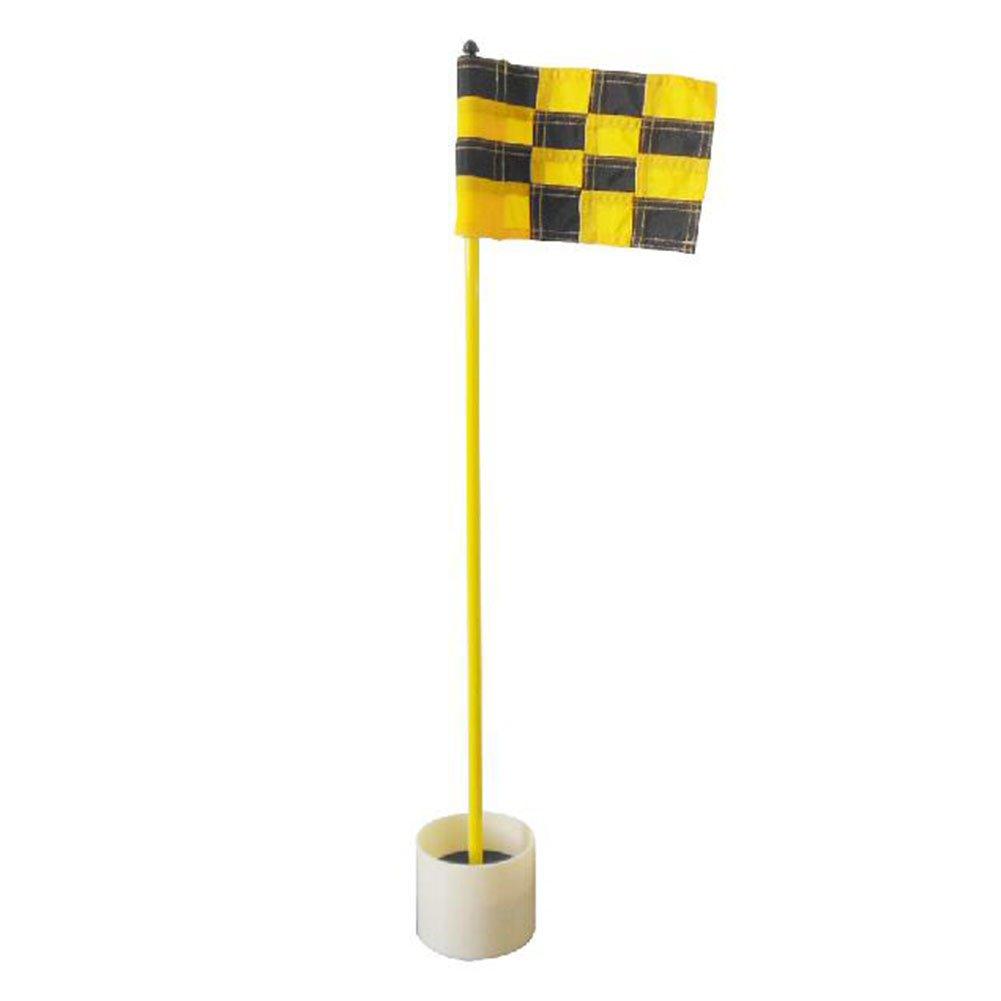 crestgolfゴルフ練習ゴルフグリーンFlagstickゴルフ穴Poleカップ1セット  yellow black plaid B01F5C2O4C