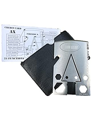Compact Survival Multi Tool Axe Card by Lion Gear - Stainless Steel, Multifunctional Survival Ax Multitool with Saw, Bottle Opener, Cutter, and Wrench - Survivor Emergency Kit For Camping, Hunting by Lion Gear