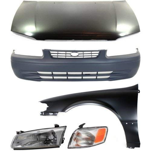 Bumper Cover Kit Compatible with Toyota Camry 1997-1999 Set of 5 Includes Left Side Corner Light Headlight Fender Hood and Front Bumper Cover