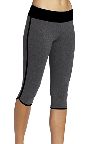 Ladyhers Women's Audel Cotton Yoga Capris Pants Tummy Control Workout Running Leggings 4 Way Stretch Fold-Over L Grey ()