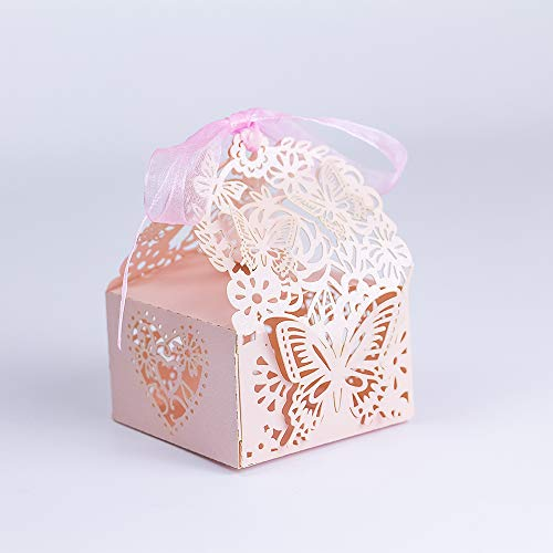 KAZIPA 50pcs Laser Cut Wedding Favor Boxes, Butterfly Anniverary Party Wedding Favor Gift Candy Boxes Candy (Pink -