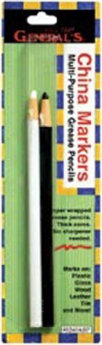 Paper Wrapped China Markers 2/Pkg-Black & White by General Pencil