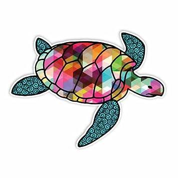 Meganjdesigns triangle sea turtle sticker colorful geometric design beach vinyl car laptop decal bumper sticker cute
