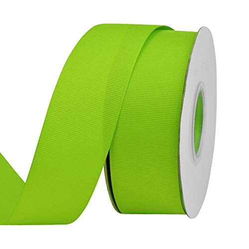 Ribest 1-1/2 inch 25 Yards Solid Grosgrain Ribbon Per Roll for DIY Hair Accessories Scrapbooking Gift Packaging Party Decoration Wedding Flowers Apple Green