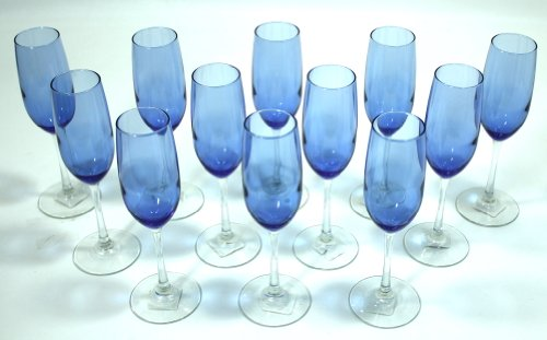 Cobalt/Royal Blue, Clear Stem, Two-Tone Champagne Glasses Flutes - Set of (Royal Champagne Set)