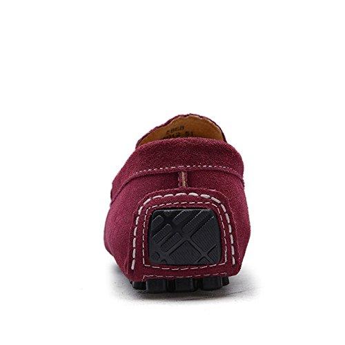 Abby 0022 Nya Mens Snygga Tillfälliga Loafers Slip-on Mockasiner Drivande Part Läderskor Röd