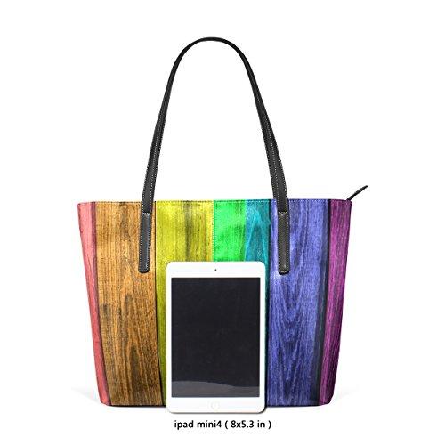 Tavole In Legno Arcobaleno Coosun Con Sette Colori Borsa Tracolla In Pelle Pu Per Donna