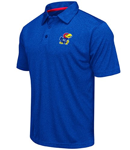 Colosseum Men s NCAA Heathered Trend-Setter Golf Polo Shirt-Kansas Jayhawks-Heathered  Blue-XL d3c1707dd