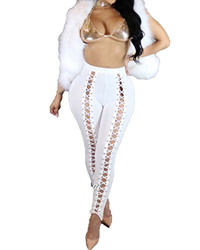 Women's High Waist Front Hollow Out Cross Pants Sexy Bandage Bodycon Leggings Club Slim Trousers (S, White)
