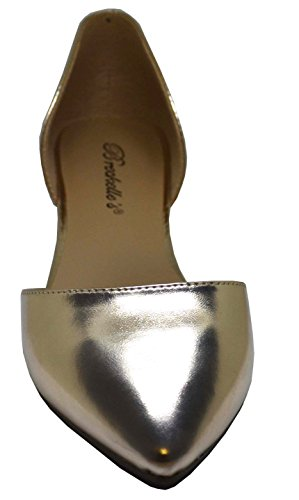 Breckelles Femmes Faux Cuir Dorsay Bout Pointu Appartements Champagne-51