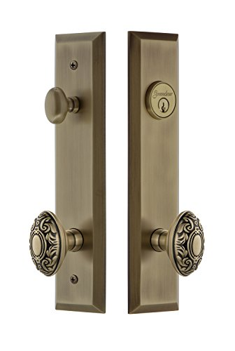 Grandeur Hardware 840805 Fifth Avenue Tall Plate Complete Entry Set with Grande Victorian Knob, Backset Size - 2.375