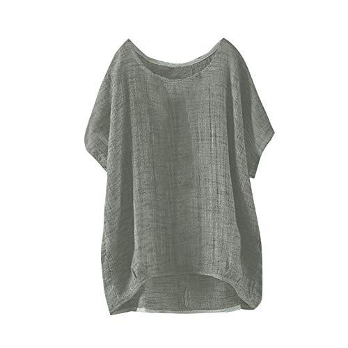 sciolto moda sottile top sezione manica Vjgoal donna verde Pullover corta tinta Shirt casual T manica estate unita camicia pipistrello 4wFqP