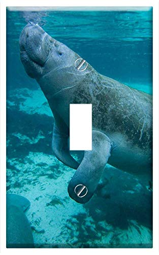 Switch Plate Single Toggle - Manatee Swimming Marine Animal Sea Water Ocean (Electric Sea Animals)