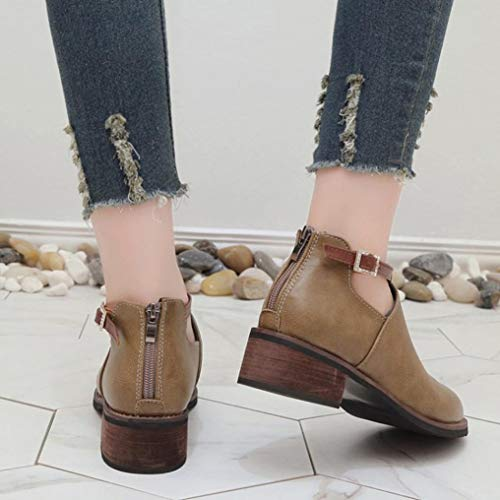 Autumn Khaki Boots Shoes Fashion Winter Classic Martin Women Boots Boots Round FALAIDUO Casual Toe Ankle zqp6R