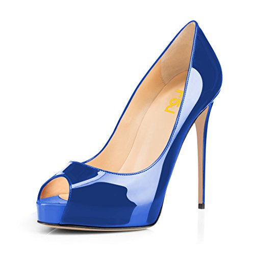 Fsj Women Graceful Peep Toe Pumps Tacchi Alti Con Plateau Slip On Party Prom Shoes Taglia 4-15 Us Royal Blue-patent