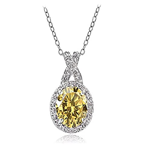 Sterling Silver Citrine & White Topaz X and Oval Necklace