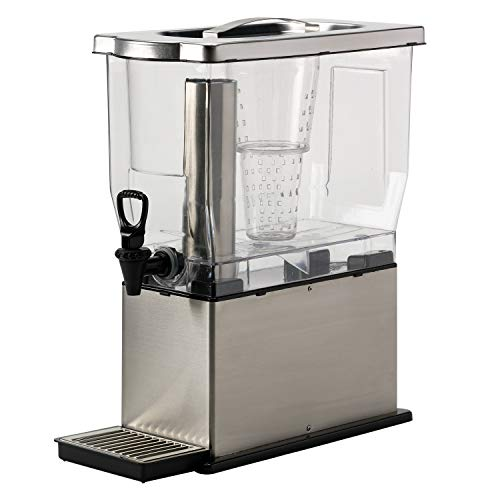 - Service Ideas CBDT3SS Rectangular Cold Beverage Dispenser, 3 Gallon (384 oz.), Transparent/Brushed Stainless