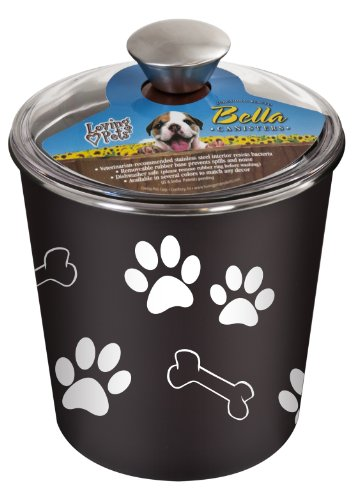 Loving Pets Bella Dog Bowl Canister/Treat Container, -