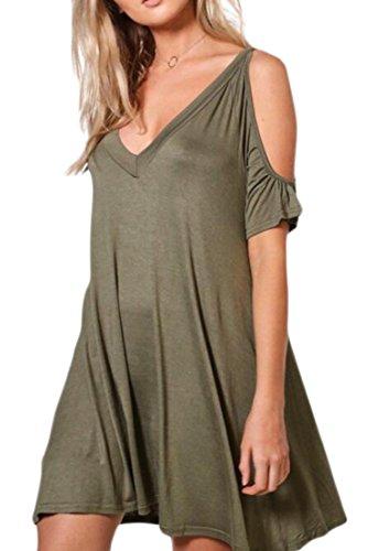 Jaycargogo Femmes Summwe V Cou Changement D'épaule Froide Mini-robe Verte De L'armée