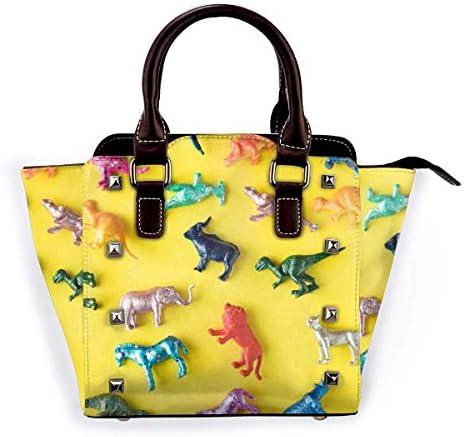 IUBBKI sac à main Afterglow rétro-éclairé en cuir véritable fourre-tout Rivet sac bandoulière poignée supérieure femmes