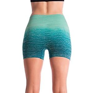 Homma Women's Seamless Compression Ombre Yoga Shorts Running Shorts Slim Fit (MEDIUM, JADE/MINT)