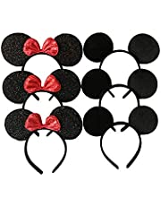 CHuangQi Mouse Ears Solid Black and Red Bow Headband for Boys and Girls Birthday Party or Celebrations (Pack of 6)