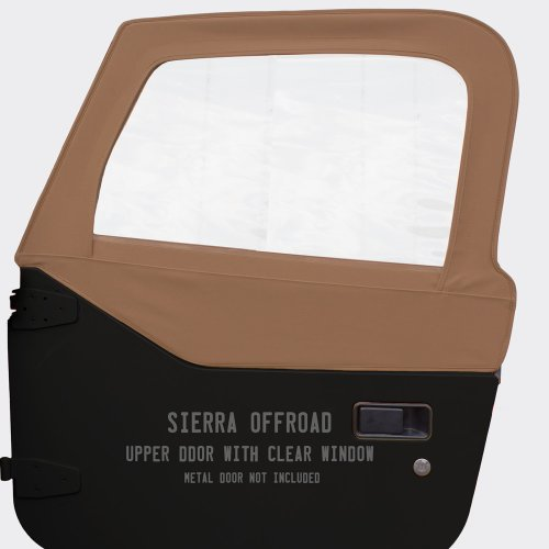 Sierra Offroad Upper Door Skins for the 1997-2006 Jeep Wrangler, Sailcloth Vinyl, Saddle