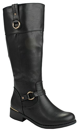 J.J.F Shoes Women FK Black Dual Gold Decorative Quilted Motorcycle Riding Knee High Boots-7 (Black Quilted Wide Calf Boots)