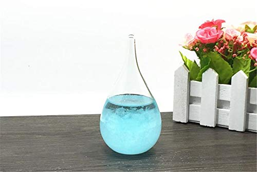Water Blue Barometer - Mini Storm Glass Weather Predicting Forecaster Crystal Drops Water Shape Barometer for Home Office Decors Creative Birthday Blue