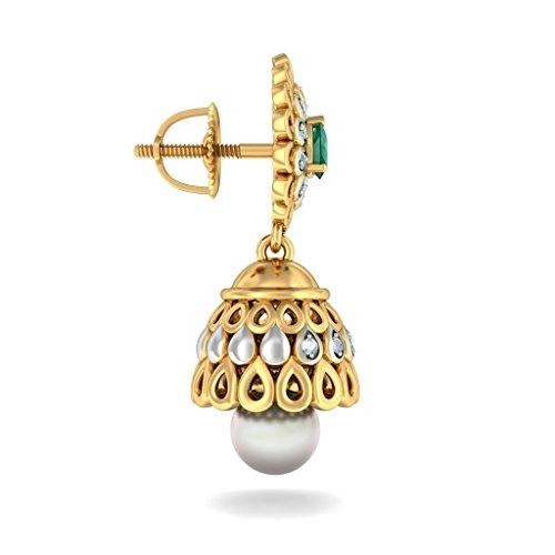 14K Or jaune 0,16CT TW White-diamond (IJ | SI) et émeraude et blanc cassé Perle Boucles d'oreilles