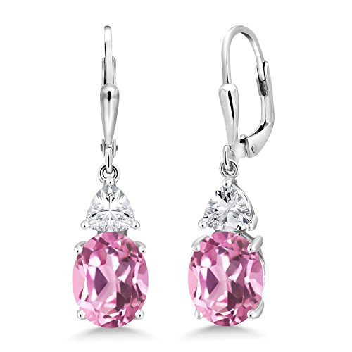 (Gem Stone King 6.00 Ct Oval Light Pink Created Sapphire 925 Sterling Silver Dangle Earrings)