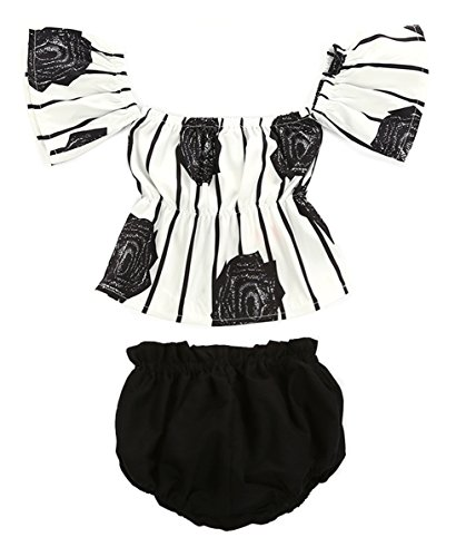 stylesilove Baby Girl Flower Stripe Print Off Shoulder Sunsuit with Bloomers 2 pcs Set (100/2-3 Years) Black and White