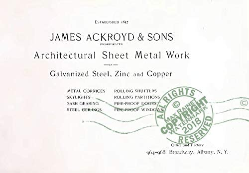 Ackroyd 1902 Architectural Sheet Metal Work CATALOG Ornamental Building Samples