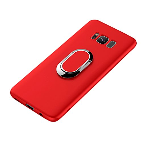 Galaxy S8 Plus Case, WATACHE Slimmest Magnetic 360 Degree Rotating Ring Holder Premium TPU Shockproof Protective Case Cover for Samsung Galaxy S8 Plus (6.2) - Red